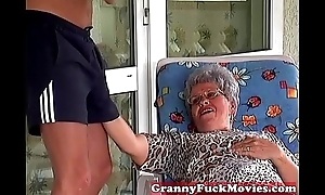 Granny Eve engulfing hard young dick