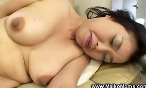 Japanese milf uses fake strapon in preference more to giving bj